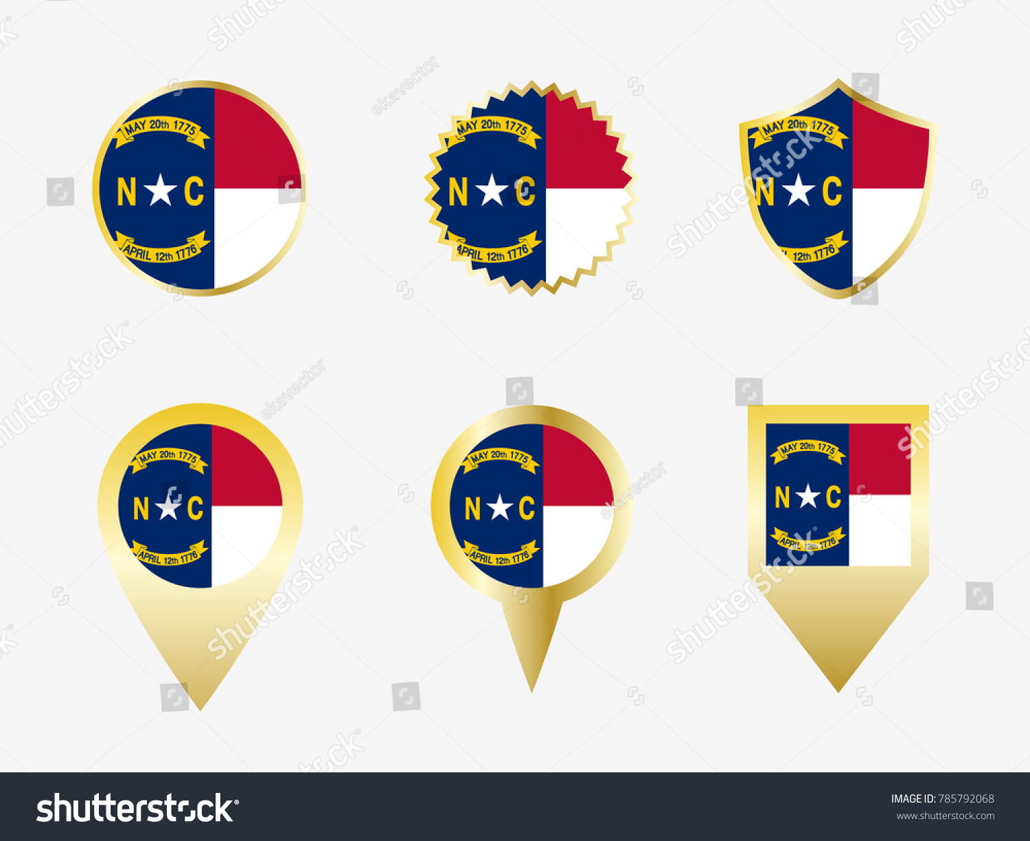 Vector flag set north carolina us stock vector 785792068 vector flag set of north carolina us state buycottarizona
