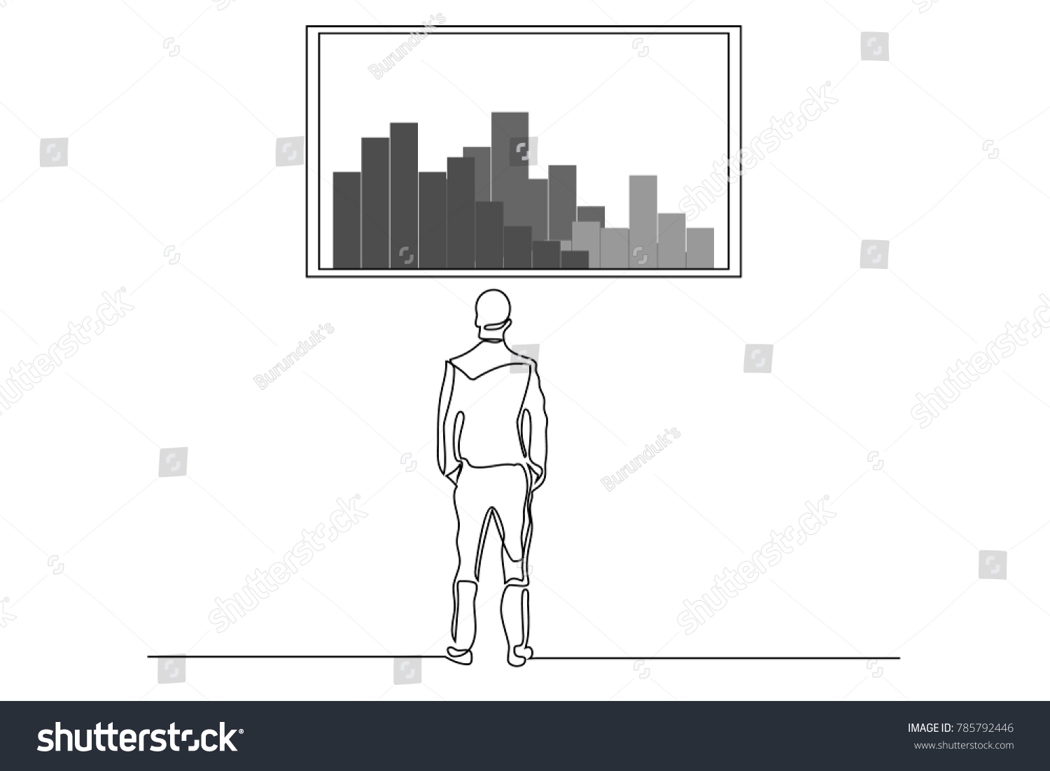 Single Line Text Art : Drawing one line man looking out stock vector  shutterstock