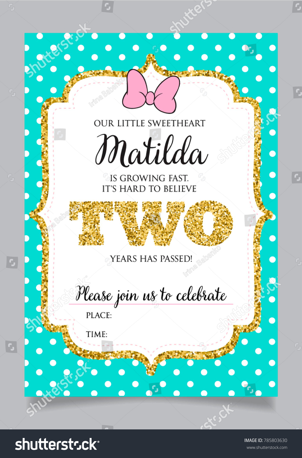 Girls Second Birthday Invitation Two Years Stock Vector (Royalty ...