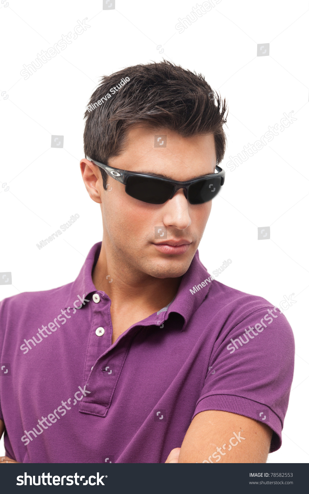 Young Handsome Man Wearing Dark Sunglasses. Isolated ...