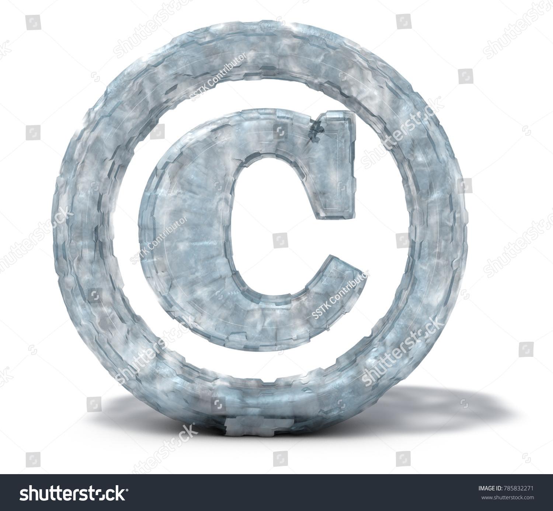 Ice Copyright Symbol On White Background Stock Illustration