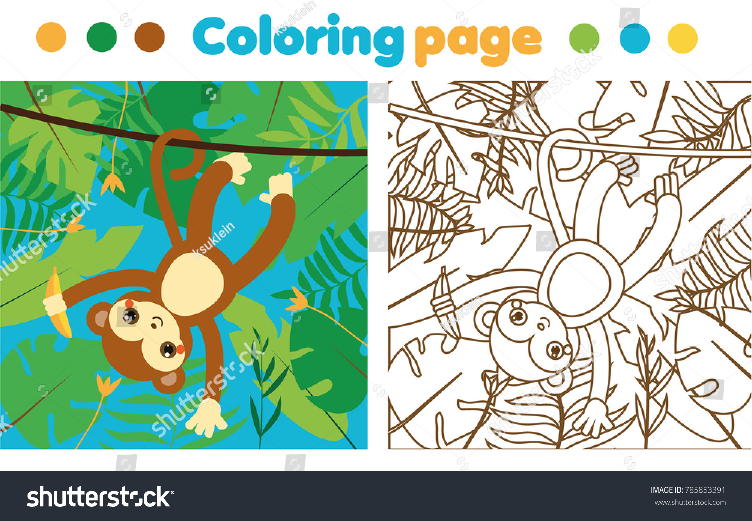 Coloring Page Children Monkey Jungle Drawing Stock Illustration ...