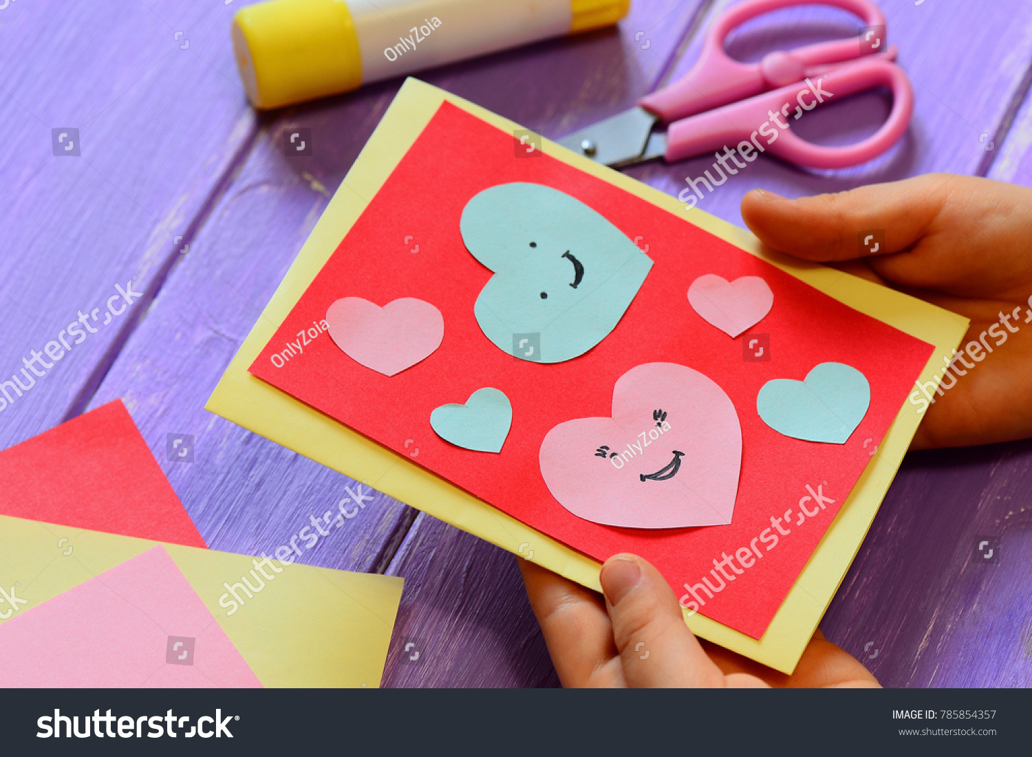 Child Holding Valentines Card His Hands Stock Photo Edit Now