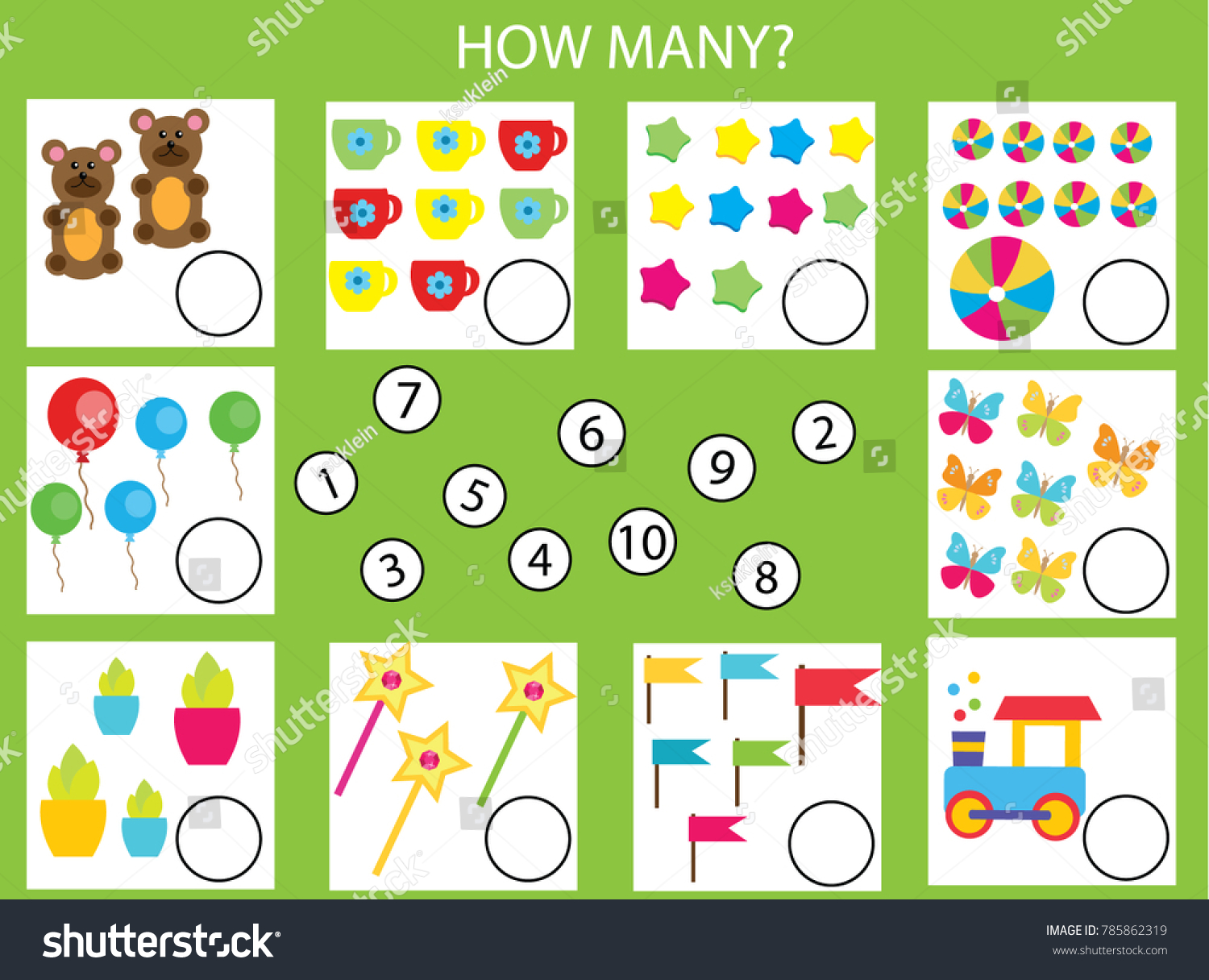 Counting Educational Children Game Math Kids Stock Illustration ...