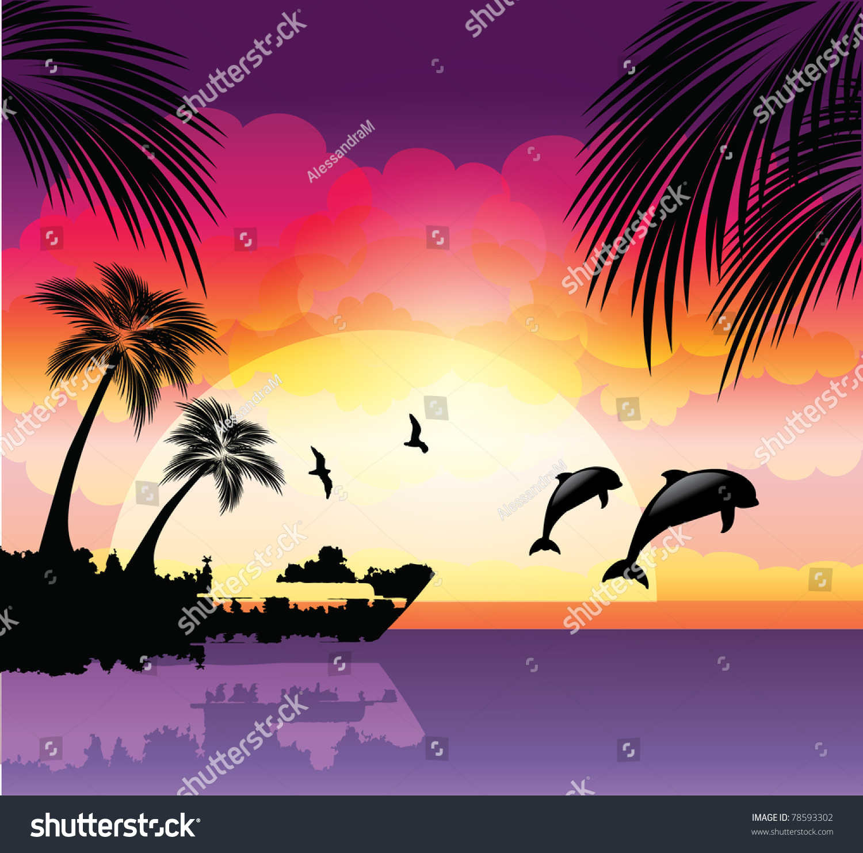 Tropical Beach Sunset Stock Vector 78593302