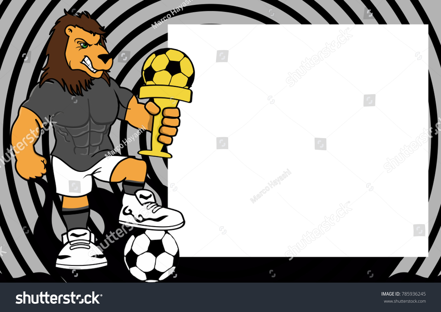 Strong sporty lion futbol soccer player stock vector 785936245 strong sporty lion futbol soccer player cartoon picture frame background in vector format jeuxipadfo Images