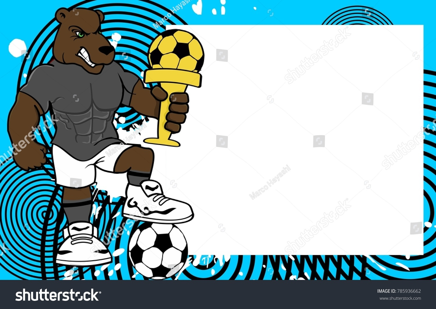 Strong sporty bear futbol soccer player stock vector 785936662 strong sporty bear futbol soccer player cartoon picture frame background in vector format jeuxipadfo Images
