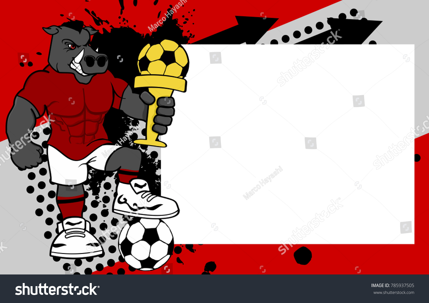 Strong sporty wild pig futbol soccer stock vector 785937505 strong sporty wild pig futbol soccer player cartoon picture frame background in vector format jeuxipadfo Images