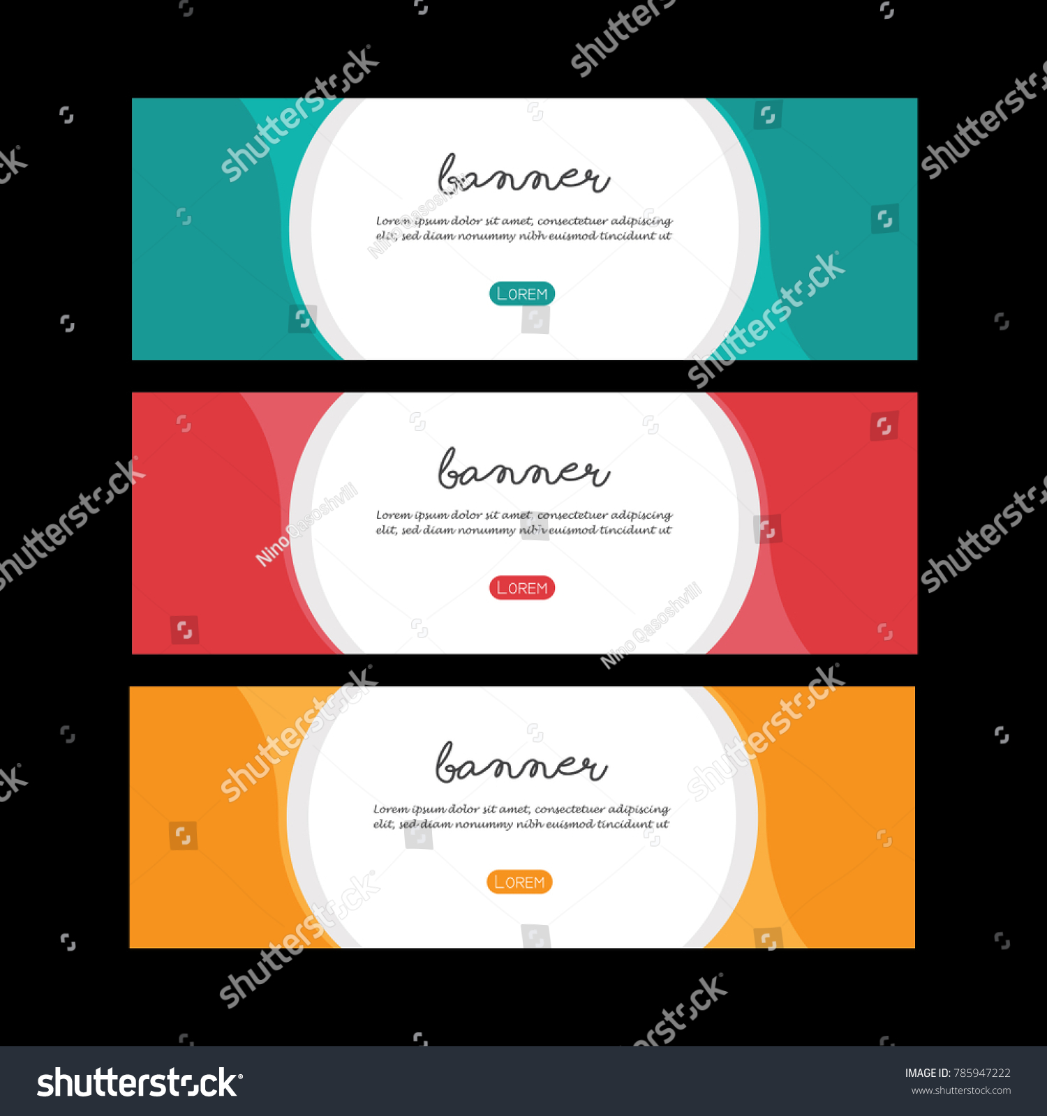 colorful banner set design simple poster stock vector 785947222
