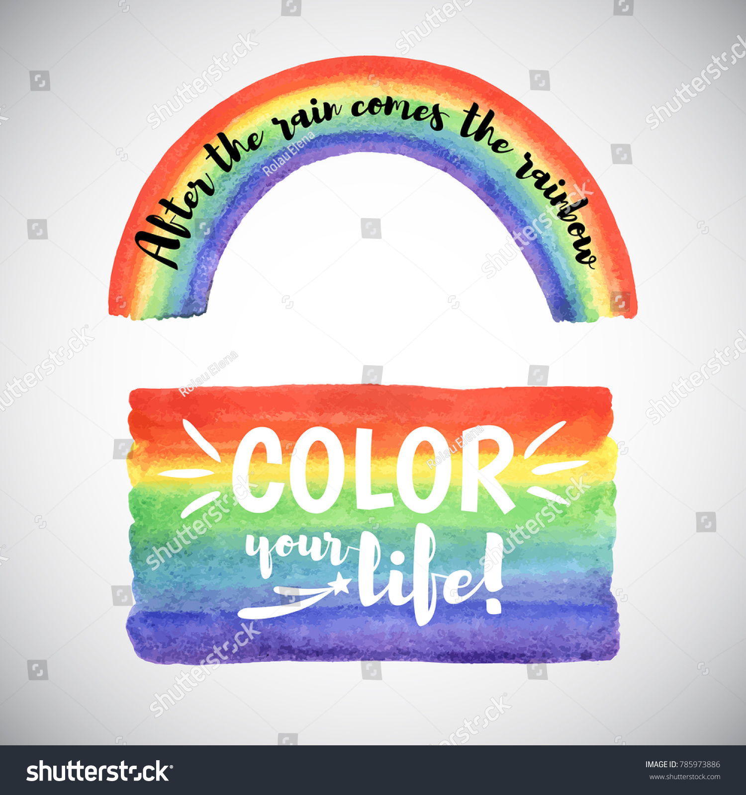 Color Your Life Quotes Watercolor Vector Rainbow Templates Inspiration Motivation Stock