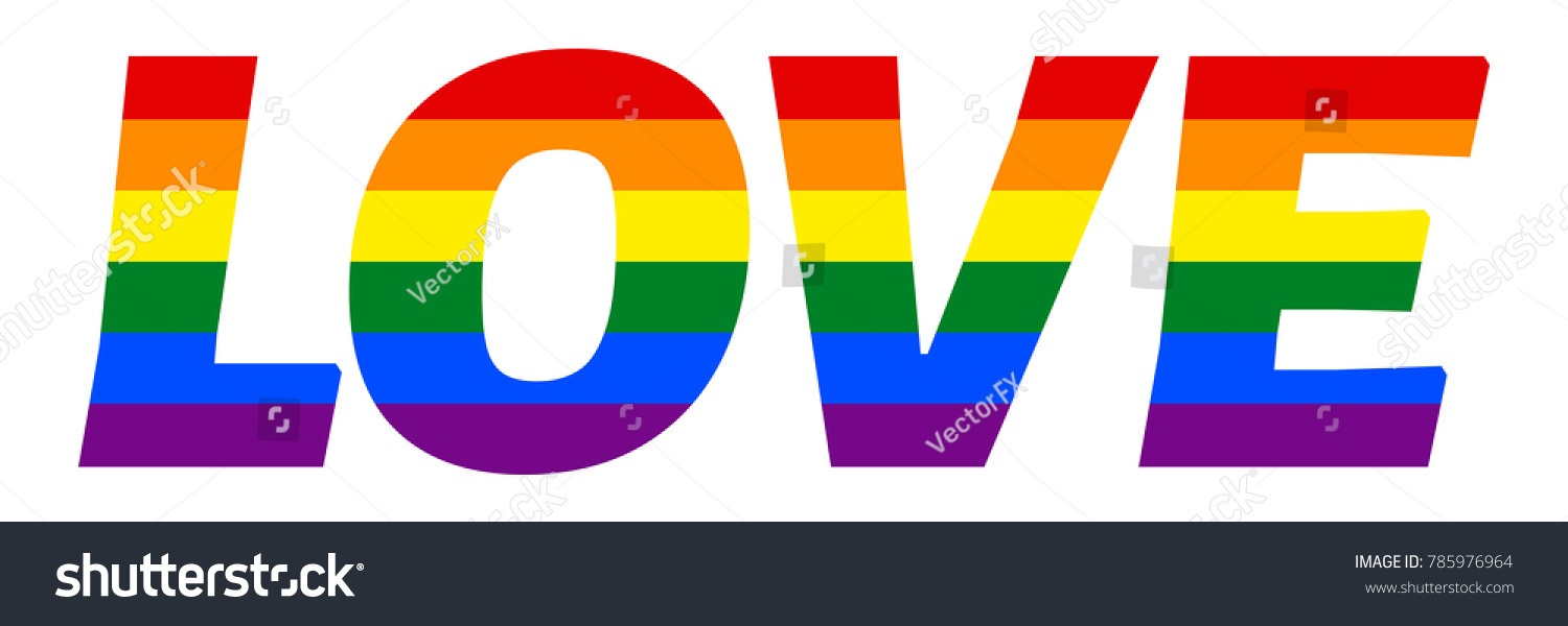 Gay Love Concept Inscription Painted Colors Stock Vector Royalty