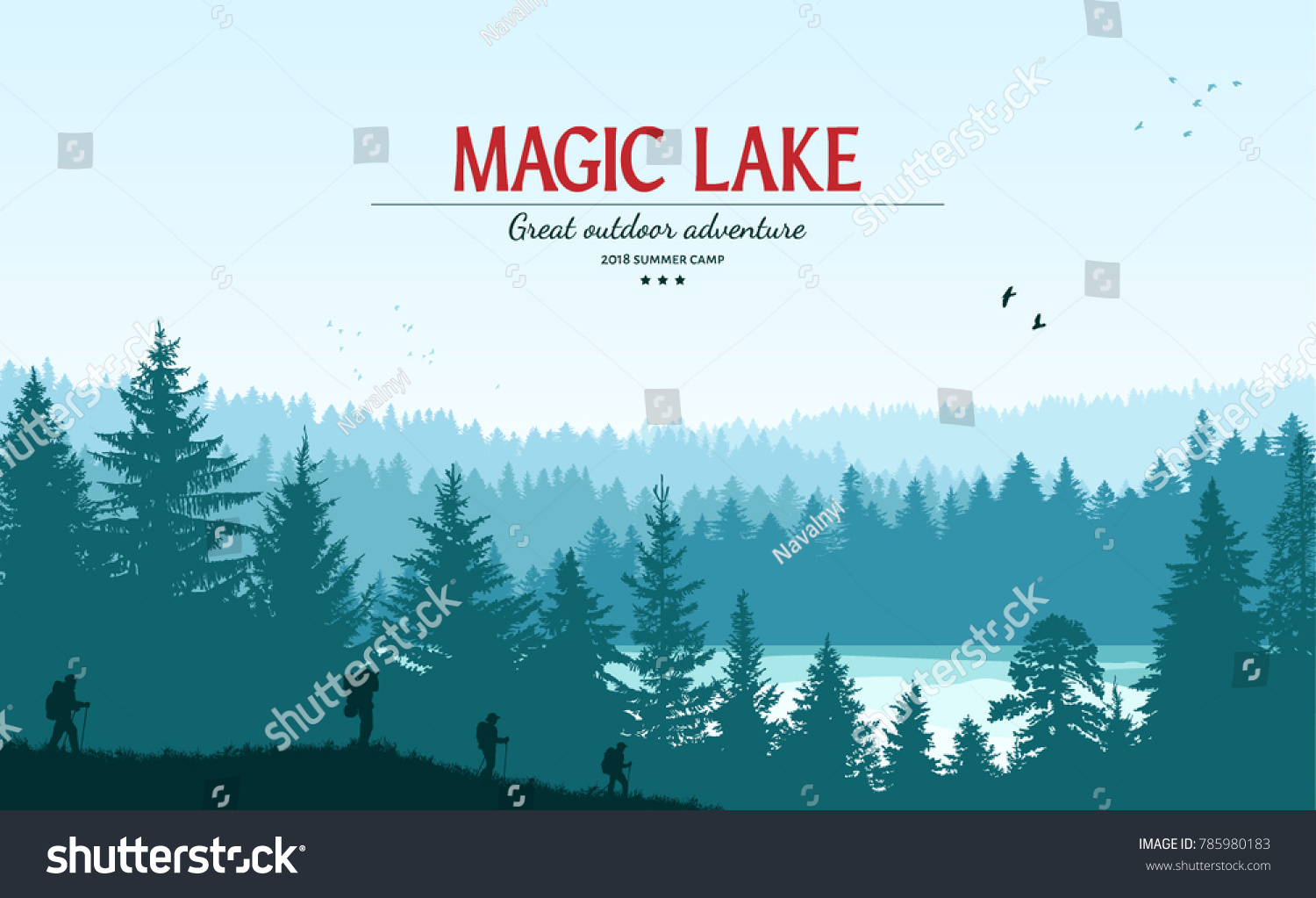 Abstract background. Forest wilderness landscape. People with backpacks silhouettes. Template for your design works. Hand drawn vector illustration. #785980183