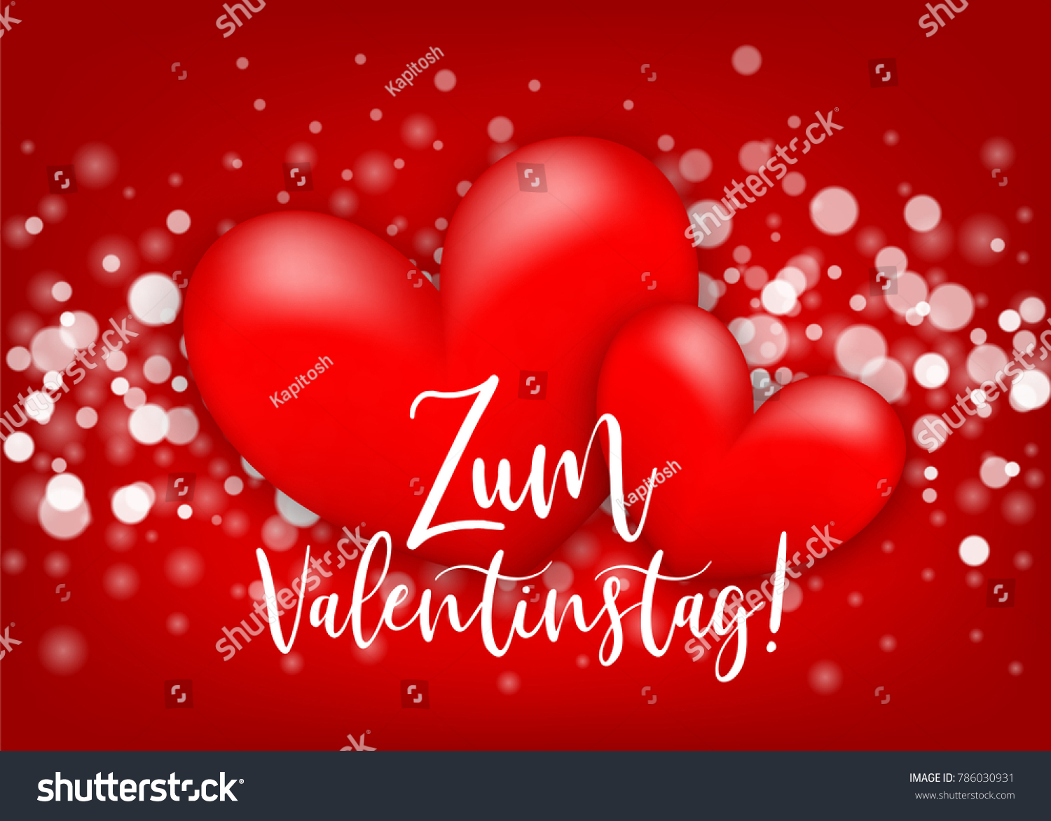 Happy Valentines Day   Zum Valentinstag German Language. Two Realistic 3d  Heart Romantic Sparkle Bokeh