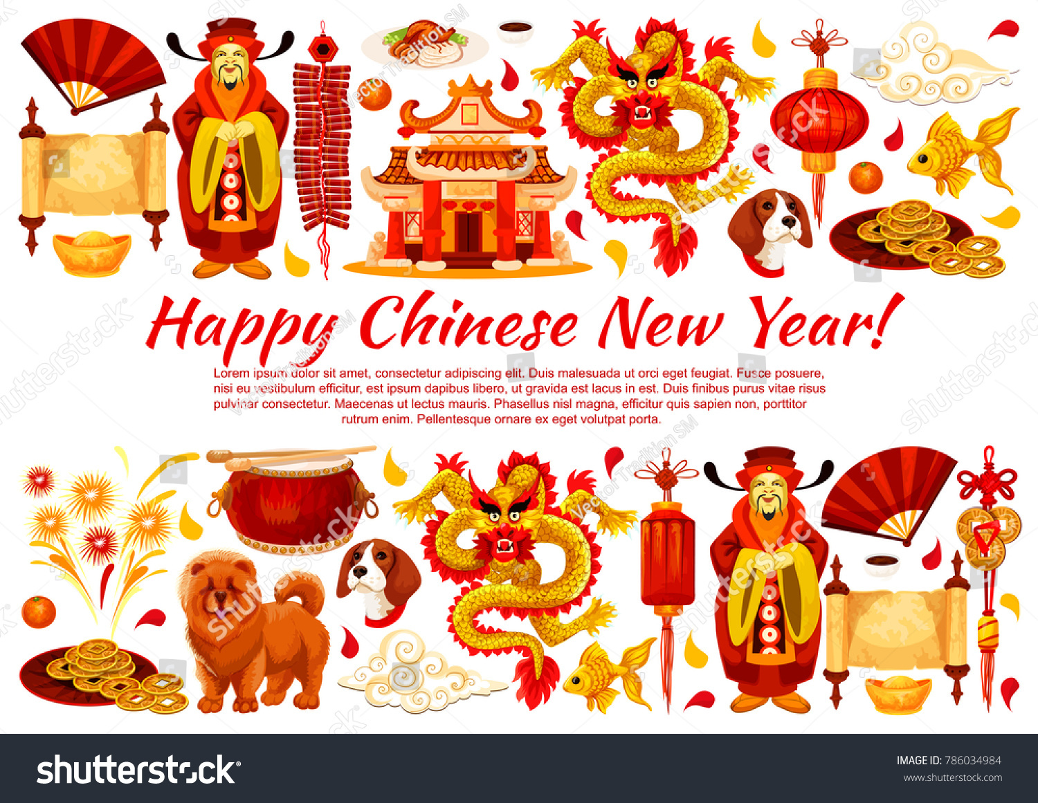 Happy Chinese New Year Greeting Card Stock Photo Photo Vector