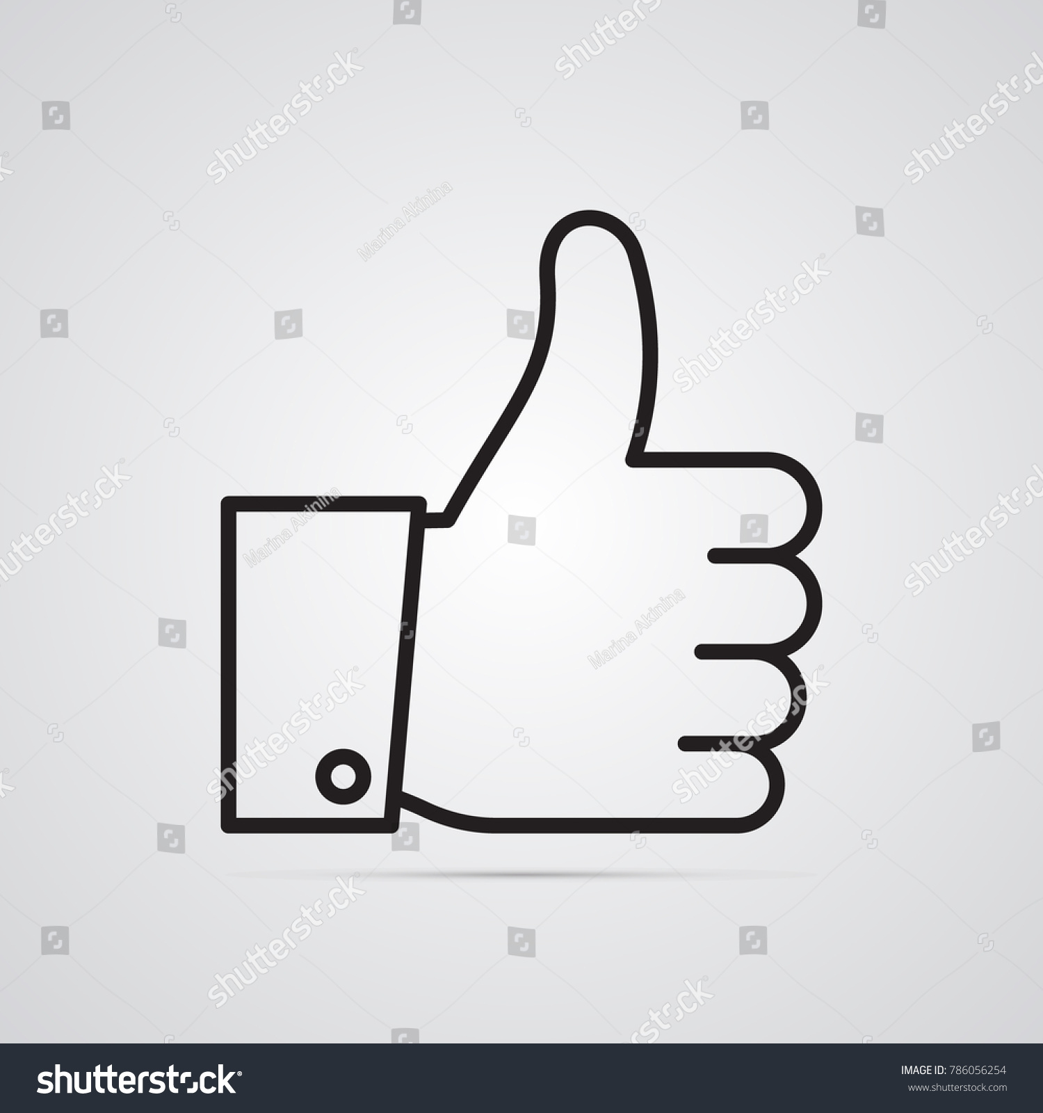 Hand Raised Thumb Illustration Quality Excellence Stock Vector