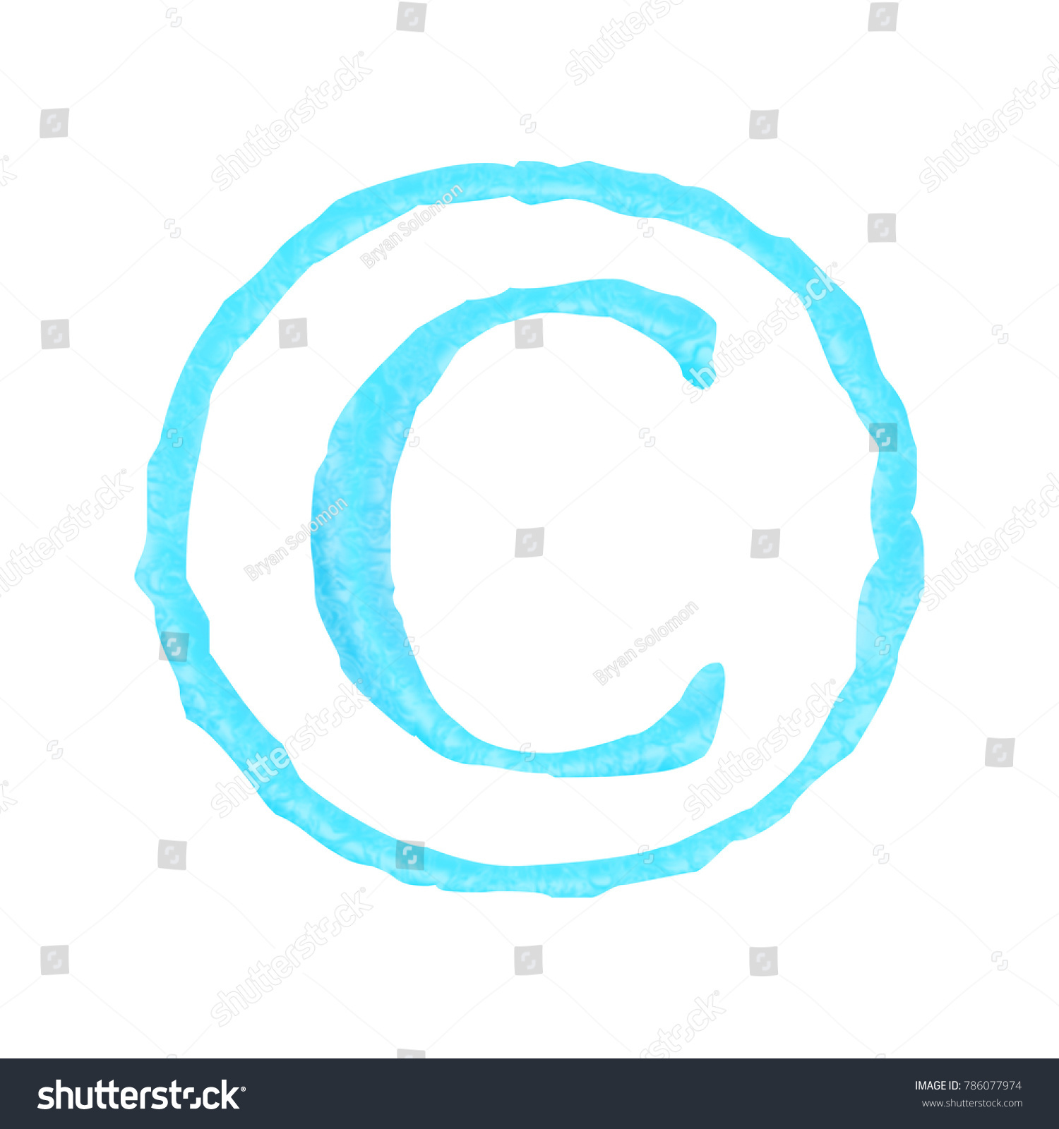 Light Blue Water Style Copyright Symbol Stock Illustration 786077974