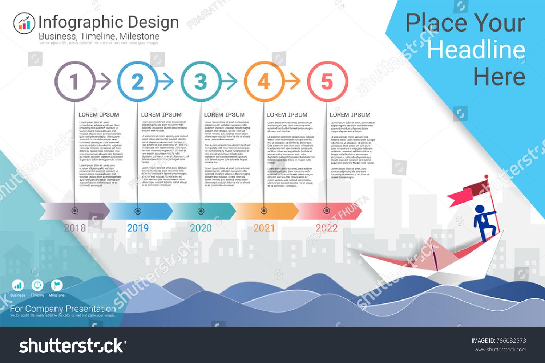 business infographics template milestone timeline road stock vector