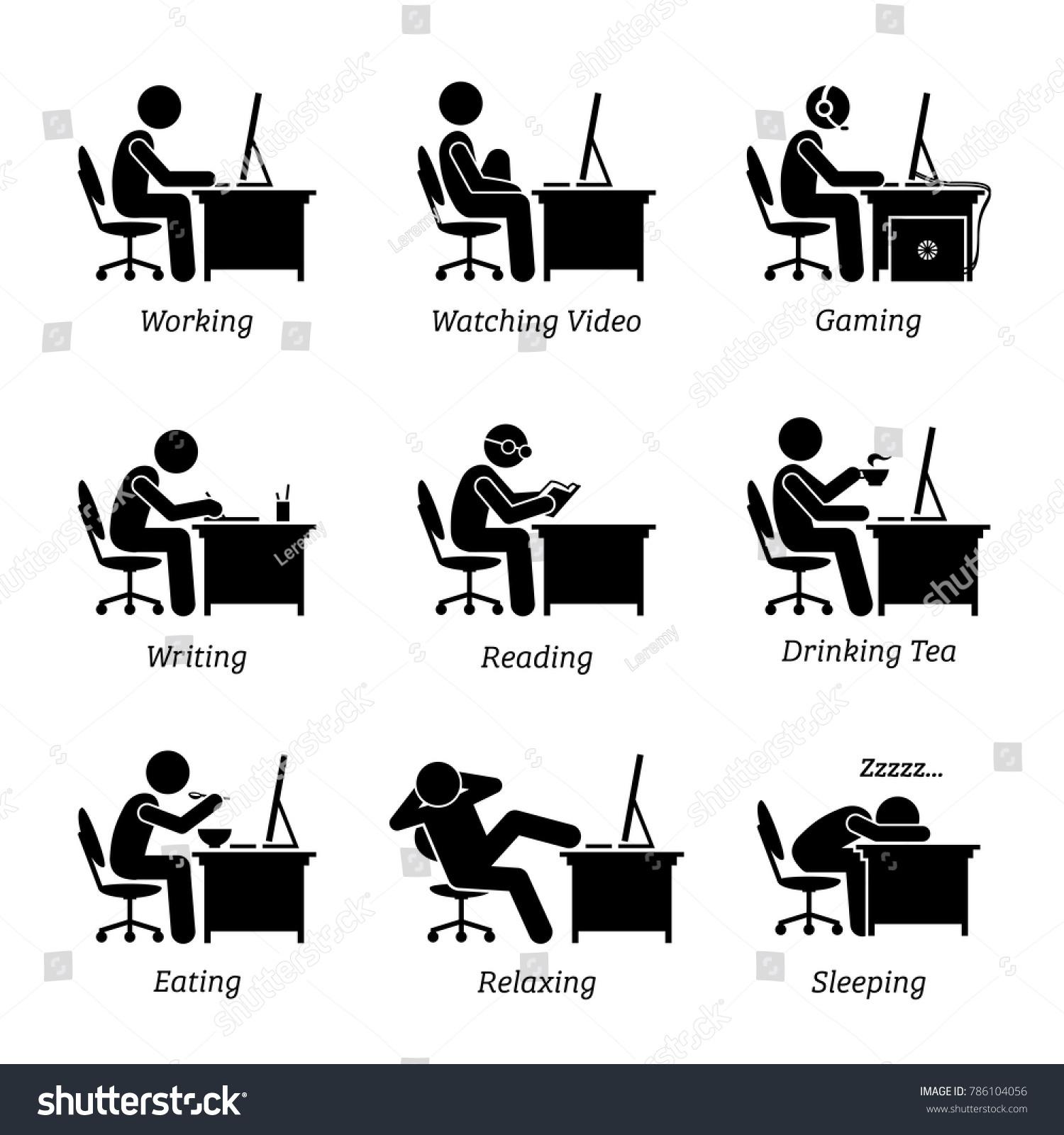 Executive Working Front Computer Office Workplace Stock-Vektorgrafik ...