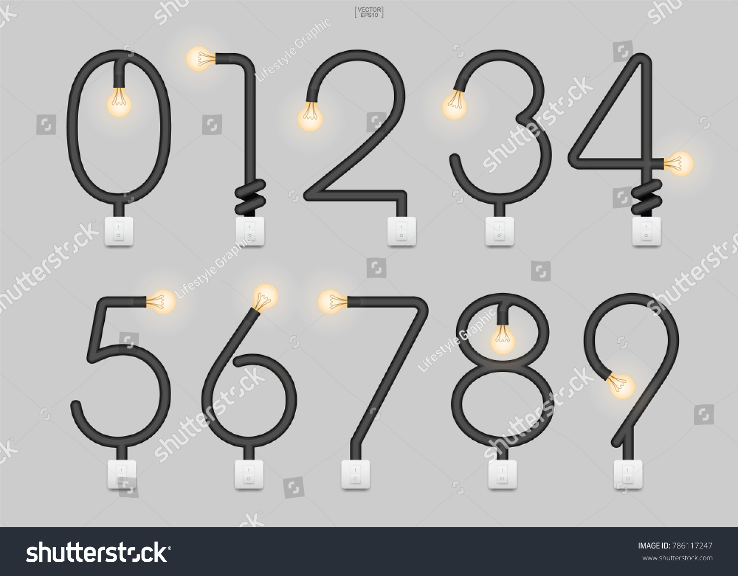 Set Stylized Alphabet Numbers Abstract Alphabet Stock Vector ...