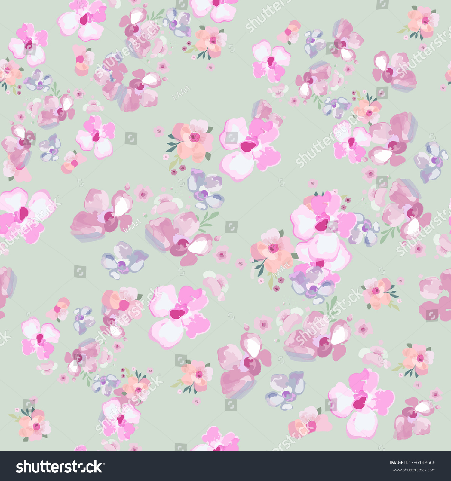 Flowers Pattern Seamless Floral Background Design Stock Vector