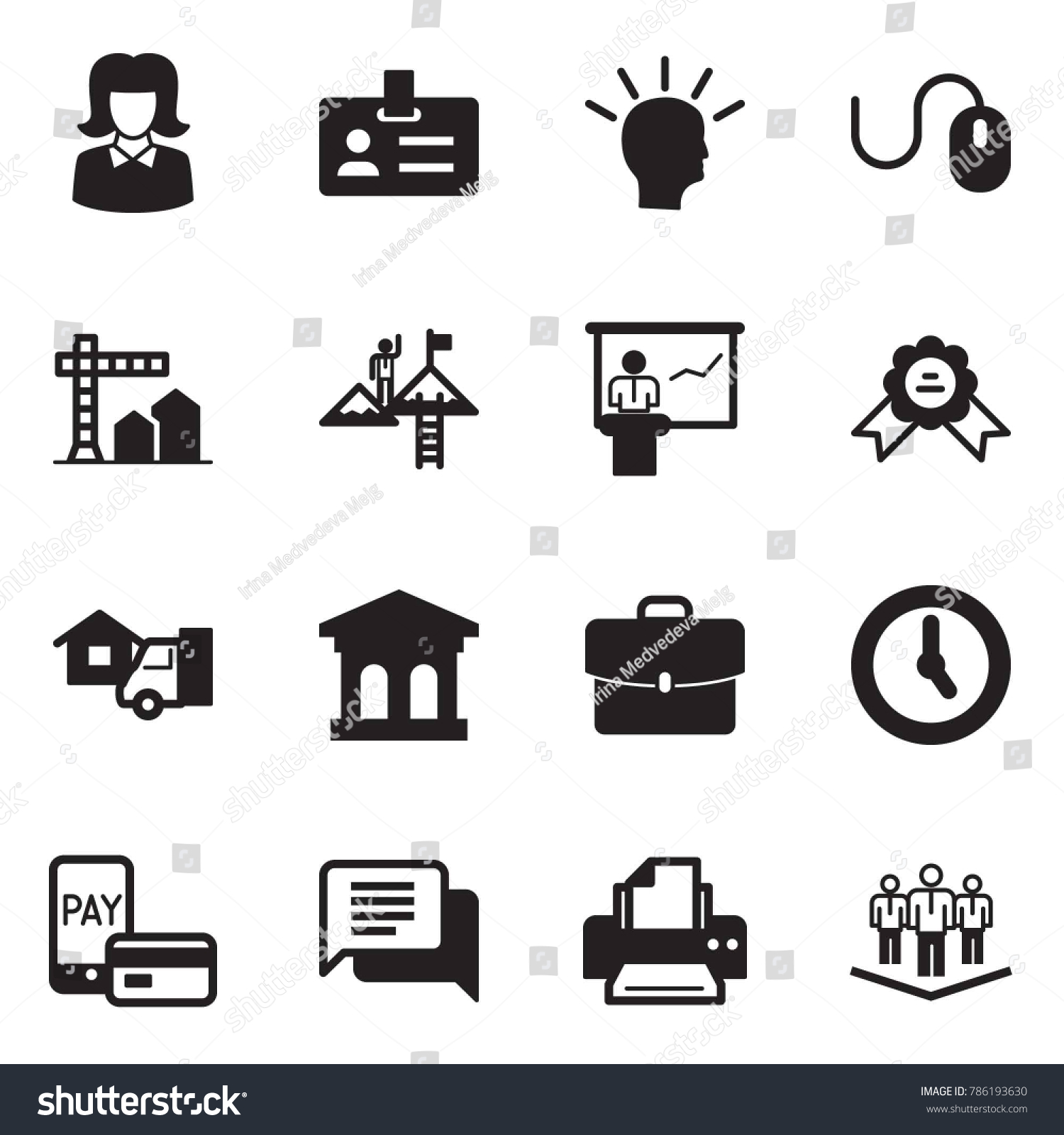 Solid Black Vector Icon Set Business Stock Vector 786193630 ...