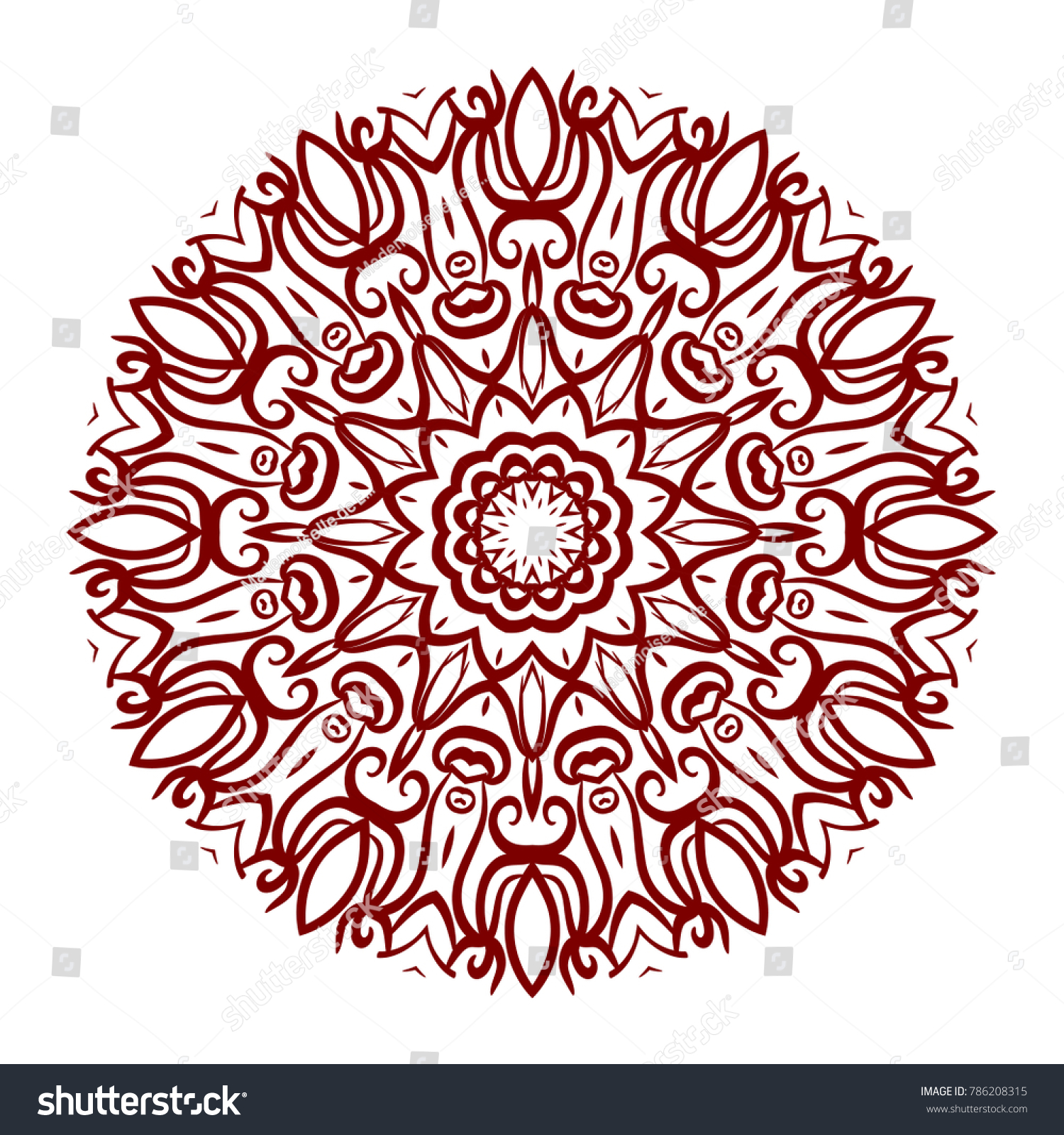 Abstract Flower Design Mandala Decorative Round Stock Vector ...