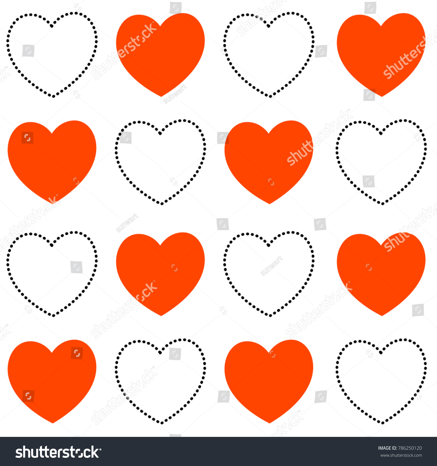 Vector seamless heart pattern love symbol stock vector 786250120 vector seamless heart pattern love symbol graphic background red and black doted line hearts buycottarizona Images