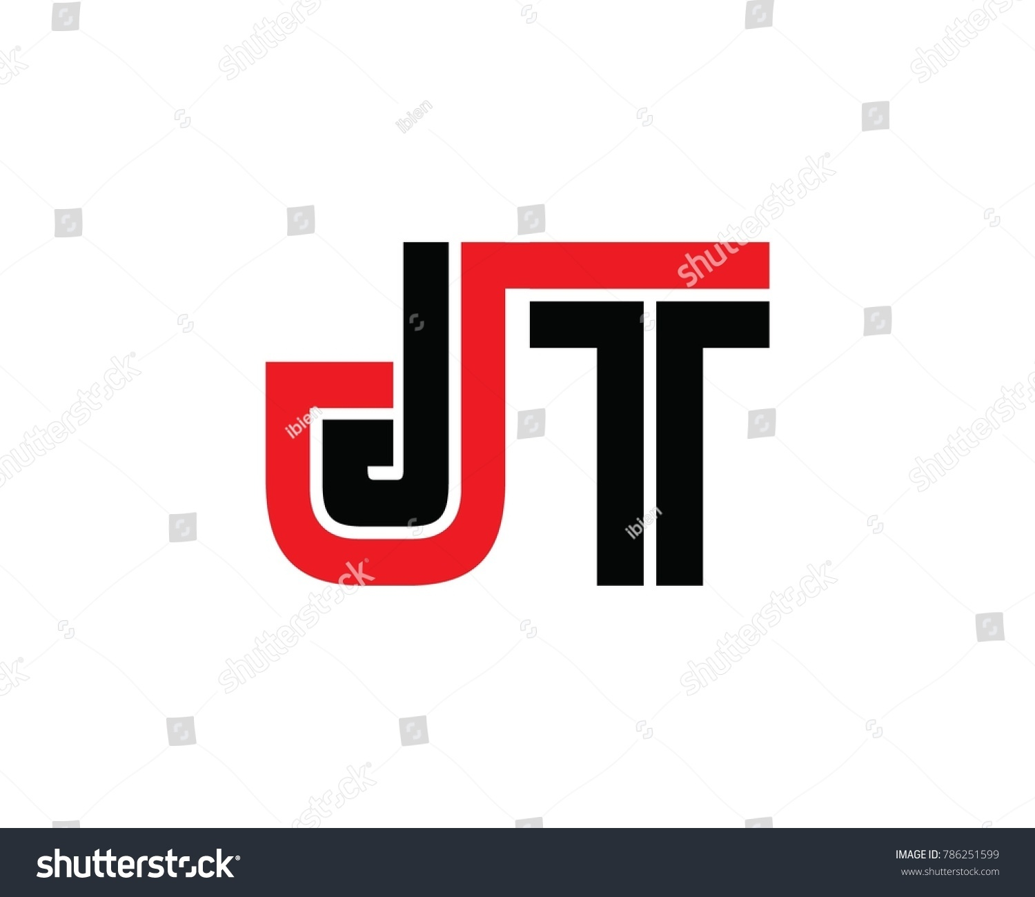 Initial Letter JT Linked Design Logo Stock Vector (Royalty Free