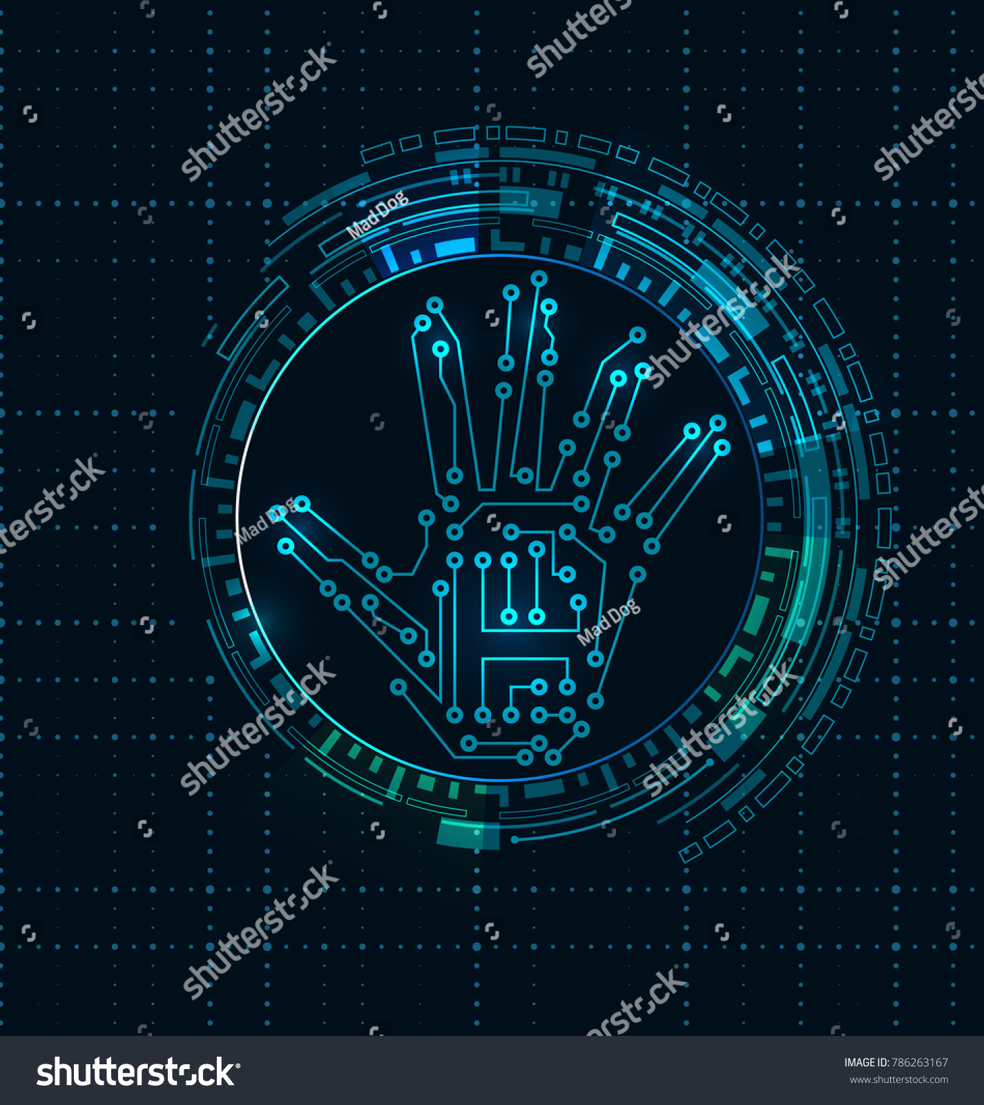 Abstract Hand Scan Electronic Technology Background Stock Mad Dog Wiring Diagram With Circuit Lines Hud Elements
