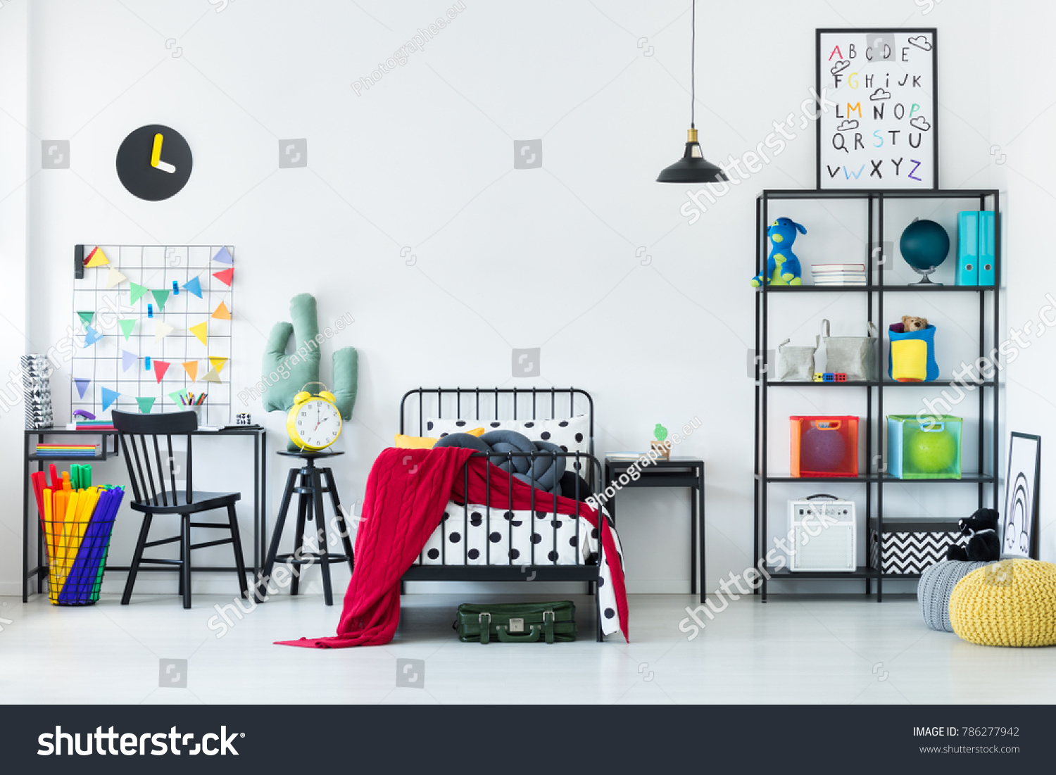 Colorful Bedroom Child Red Blanket On Stock Photo Edit Now 786277942