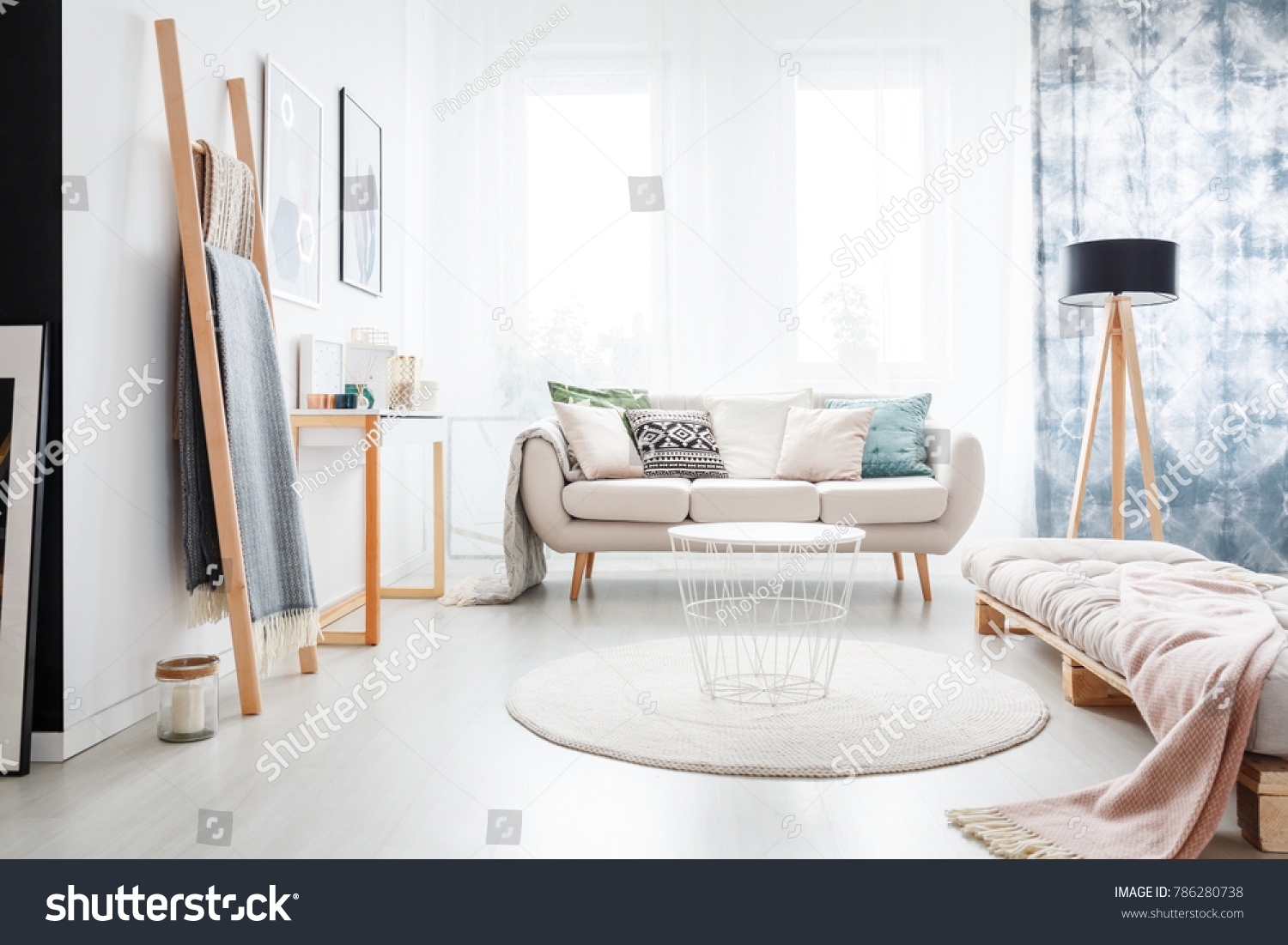 Minimalistic Boho Bedroom Interior Beige Mattress Stock Photo Edit Now 786280738