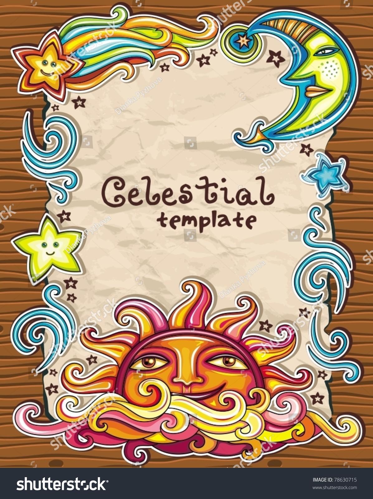 Vintage Grunge Frame Celestial Symbols Sun Stock Vector Royalty
