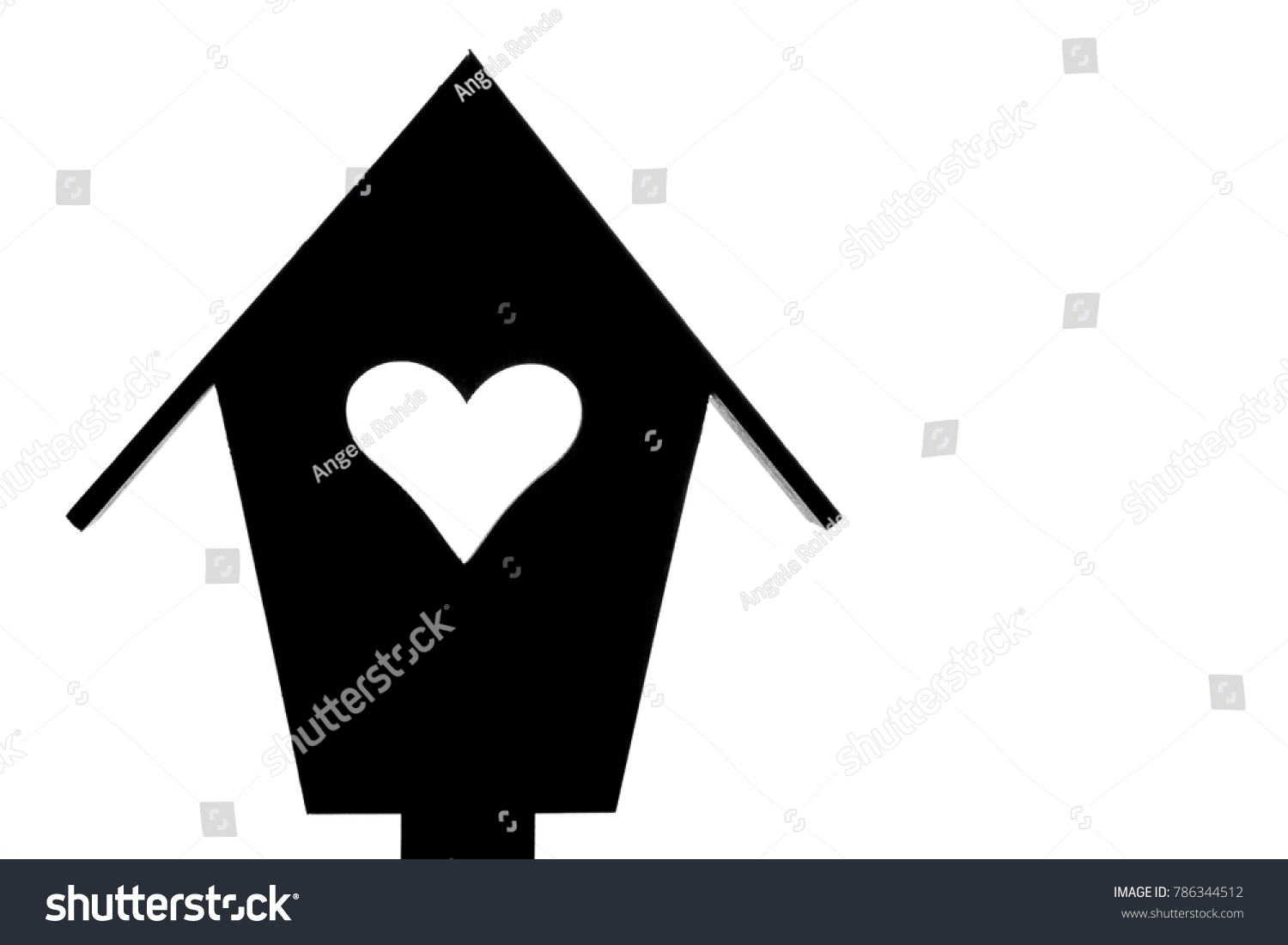 Little black house white heart white stock illustration 786344512 little black house with white heart white background and copy space buycottarizona Images