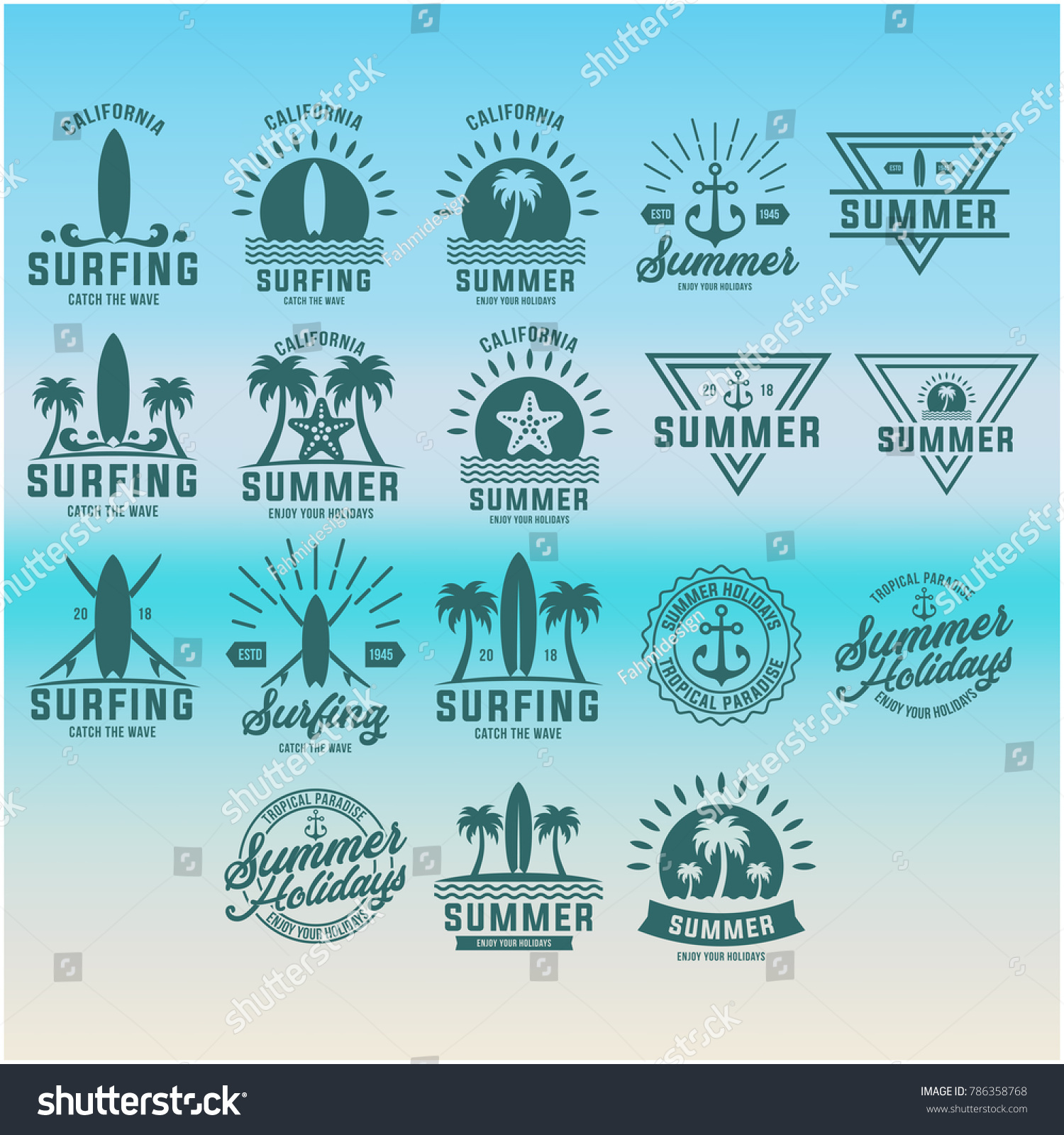 summer vacation beach sign design templates stock vector 786358768 shutterstock