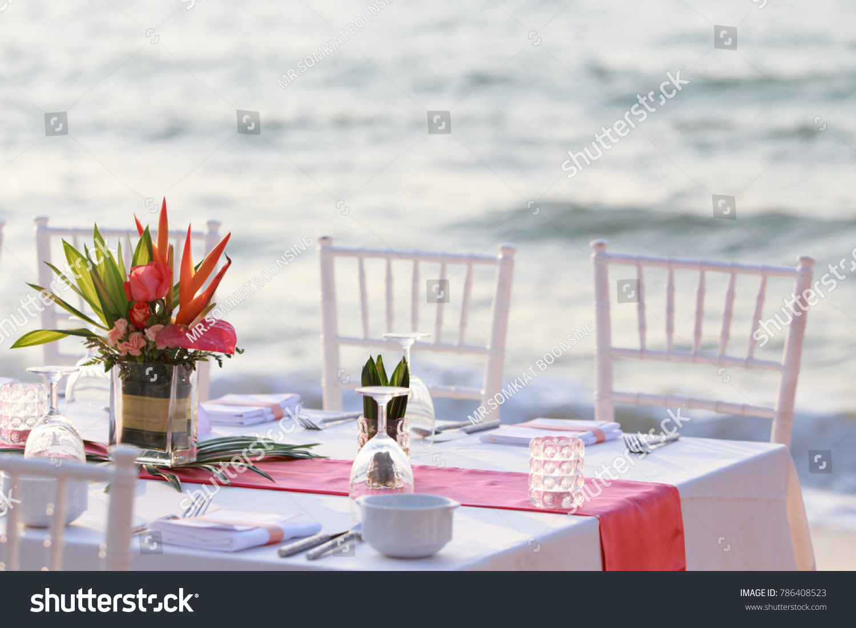 Wedding Table Set On Beach Wedding Stock Photo & Image (Royalty-Free ...