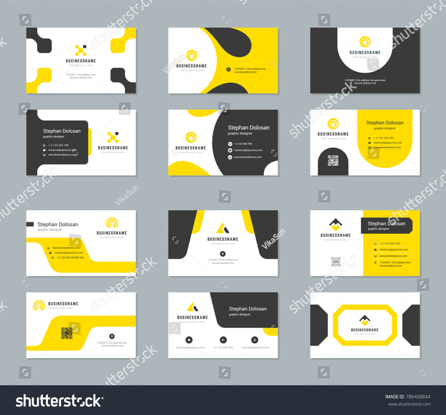 Business Cards Design Templates Set Abstract Stock Vector ...