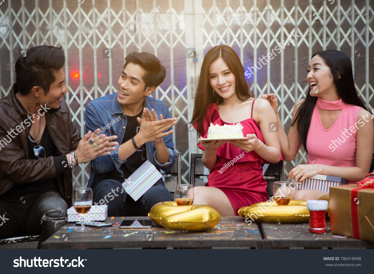 Happy Friends Greeting New Year Party Stock Photo Edit Now