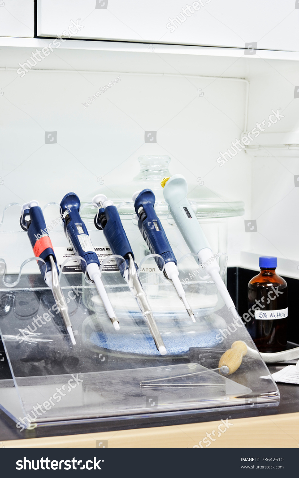 Pipettes Rack On Lab Bench Stock Photo Edit Now 78642610