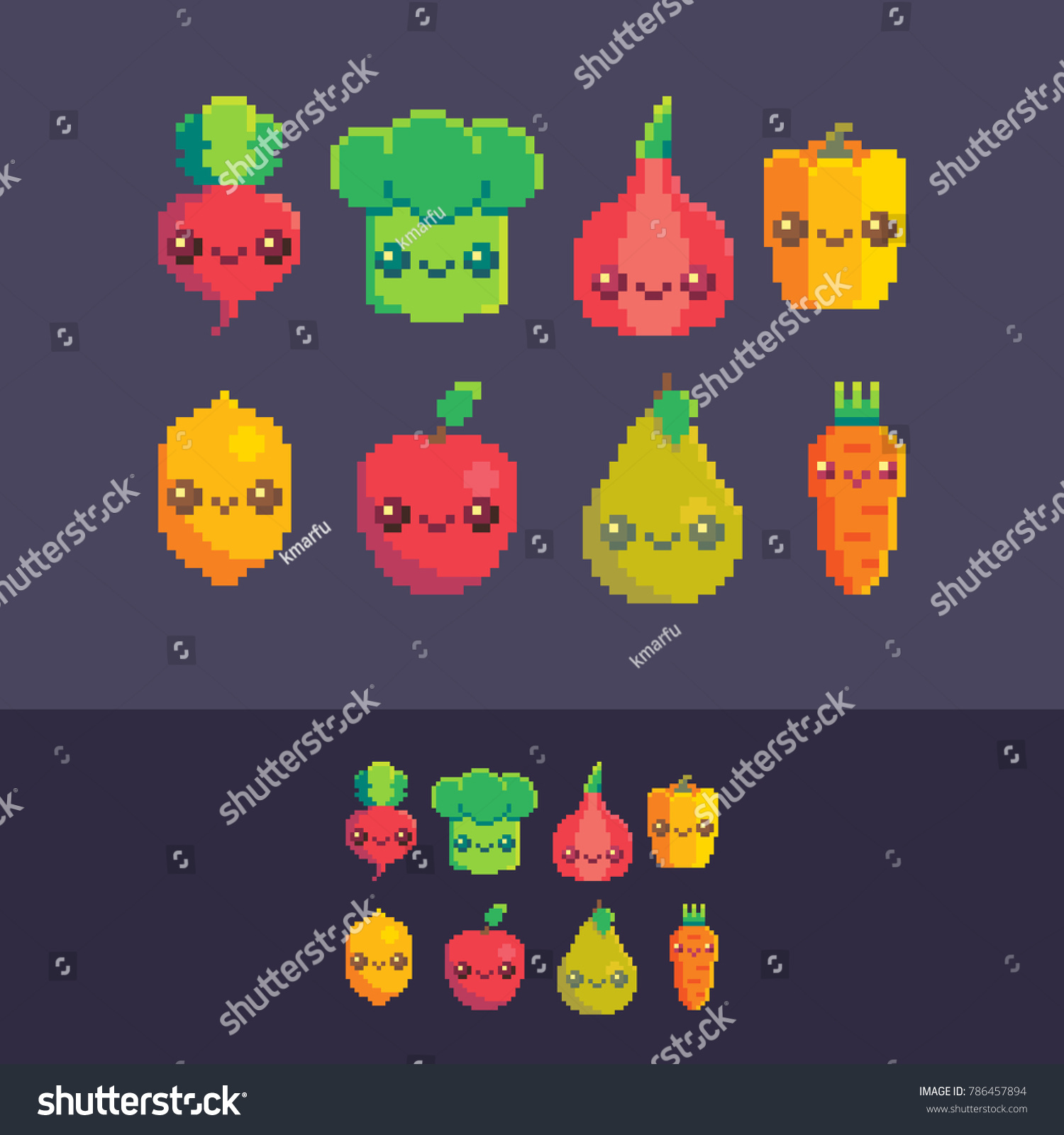Image Vectorielle De Stock De Pixel Art Vector Cute Vegetables Fruits 786457894