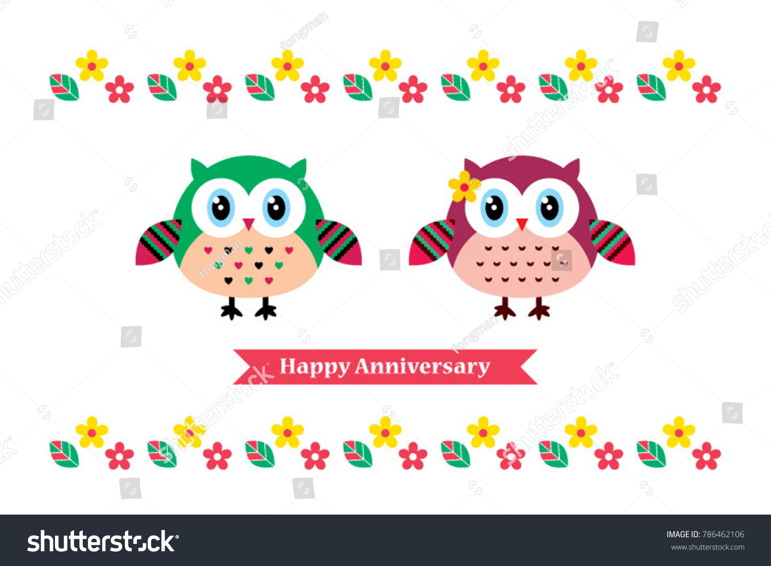 Owl Couple Happy Anniversary Greeting Card Stock Vector Royalty
