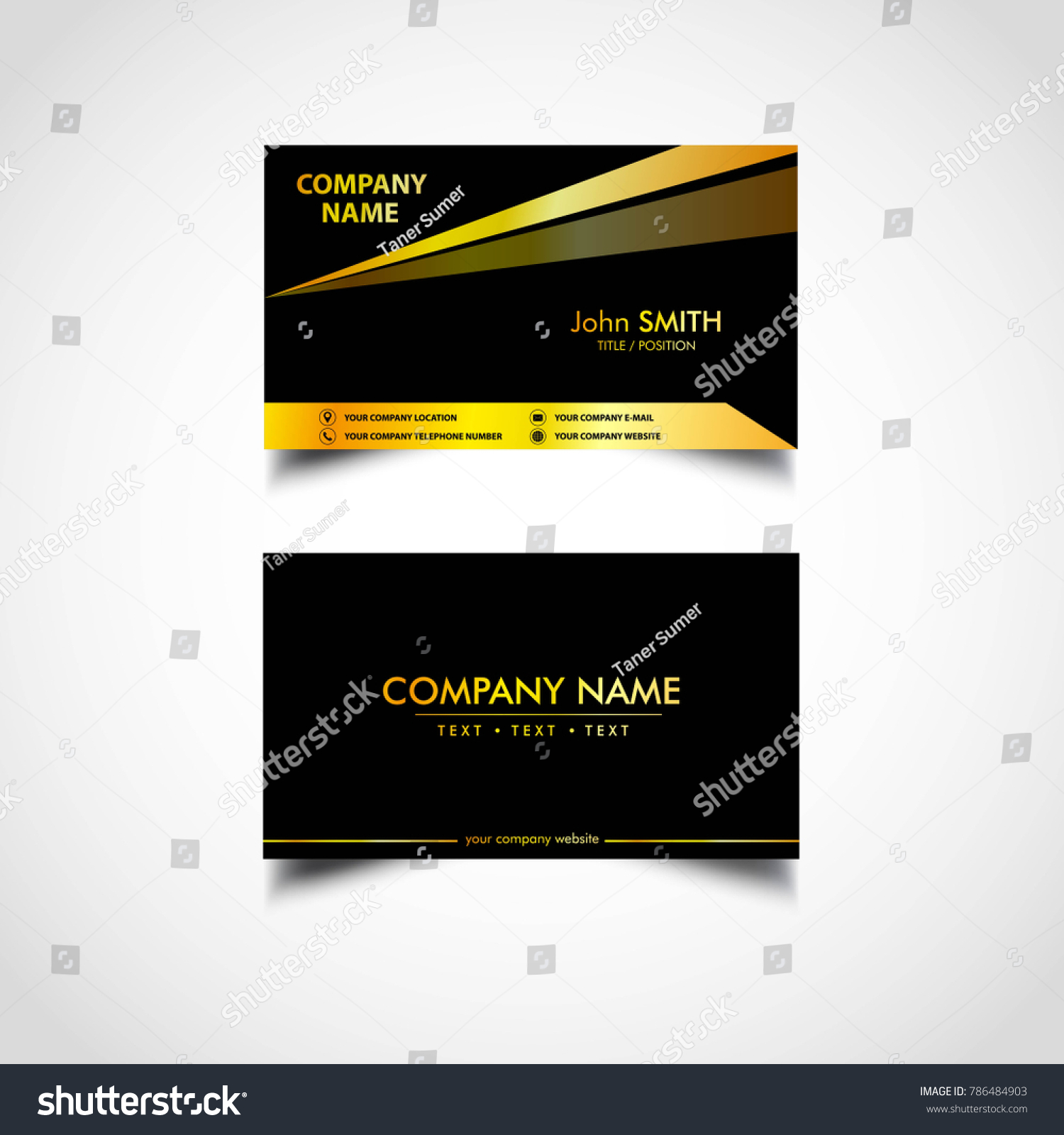 Golden Business Card Template Us Size Stock Vector 786484903 ...