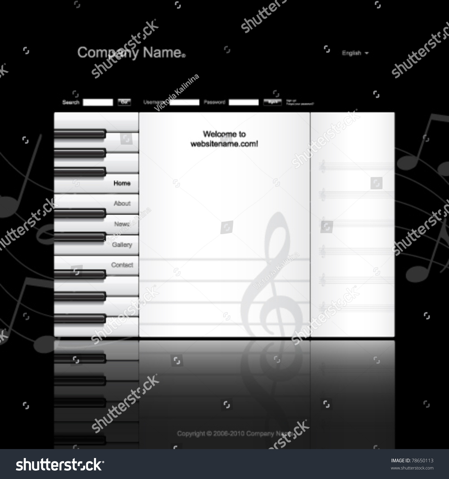 musical website template piano keys and music paper stock vector illustration 78650113. Black Bedroom Furniture Sets. Home Design Ideas