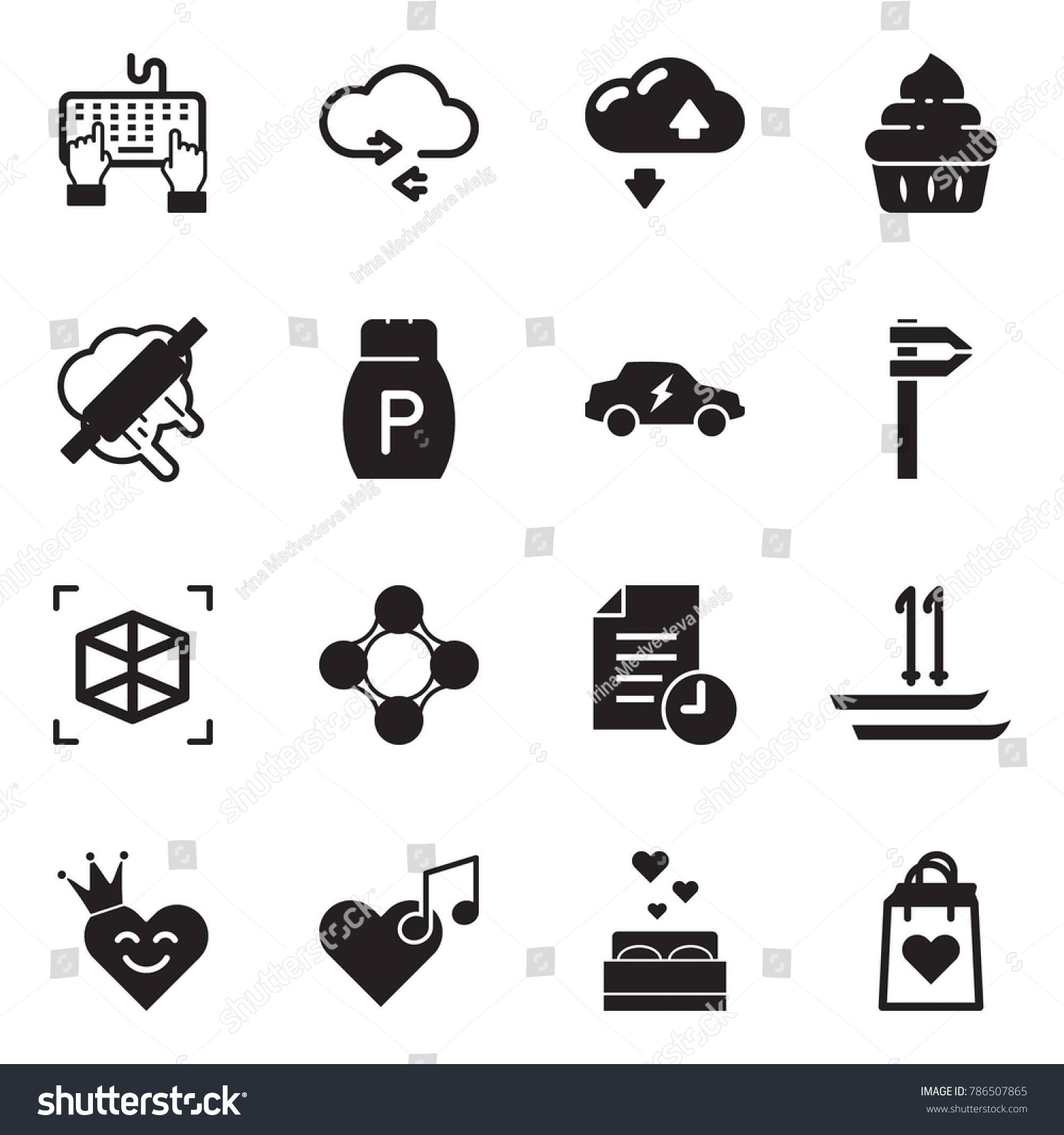 Solid Black Vector Icon Set Keyboard Stock Vector Royalty Free