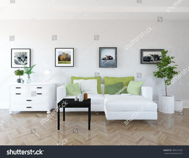 Idea White Scandinavian Living Room Interior Stock Illustration ...