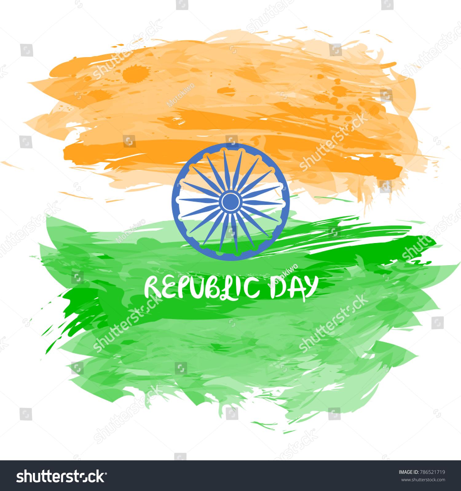 India Republic Day Greetings Watercolor Design Stock Vector