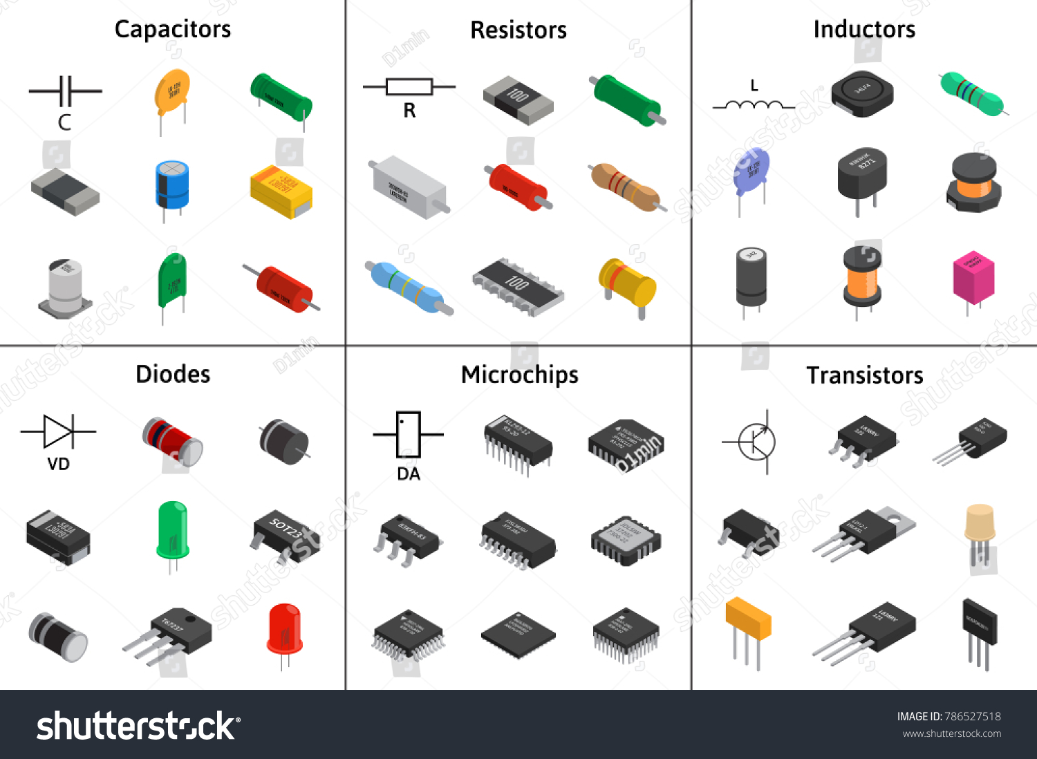 Big Vector Set Izometric Electronic Components Stock Vector Royalty