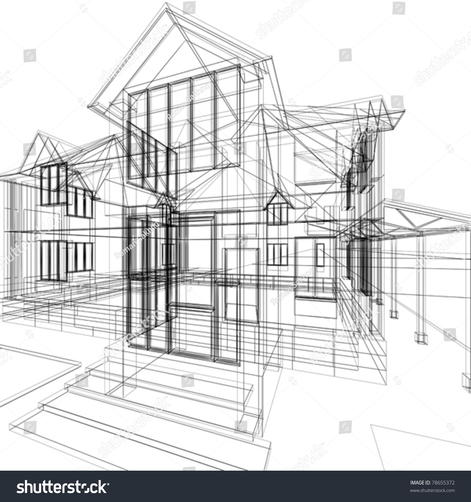 Royalty-free Abstract Sketch Of House. 3d Vector