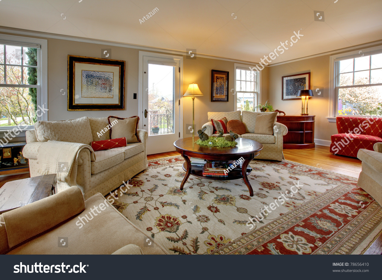 Red And Beige Living Room Cozy Luxury Living Room Beige Red Stock Photo 78656410 Shutterstock