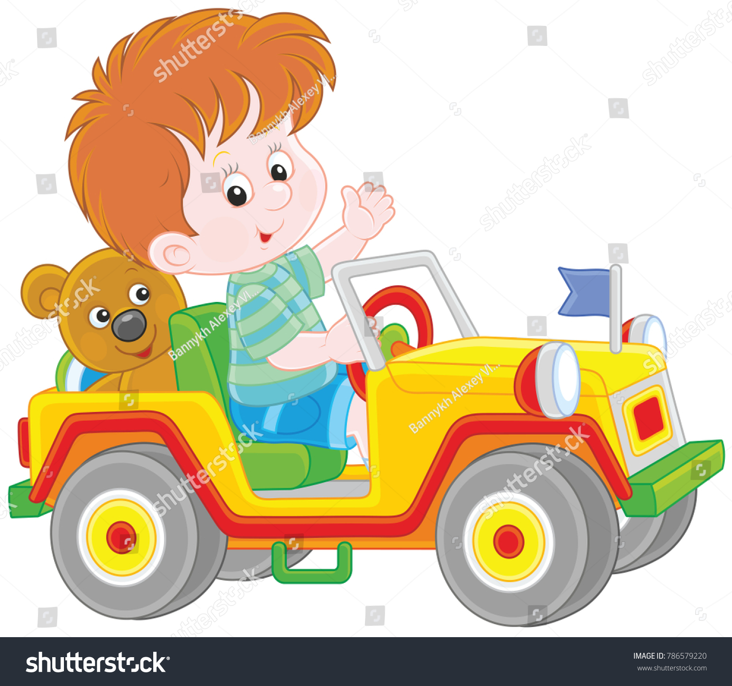 Little Boy Playing Toy froad Car Stock Vector