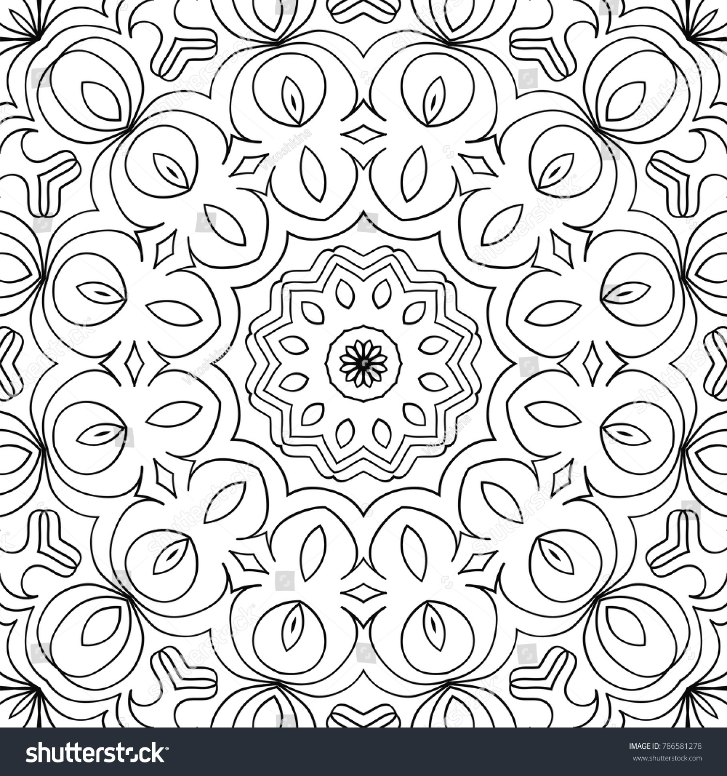 Arabesque Seamless Pattern Coloring Page Adults Stock Vector HD ...